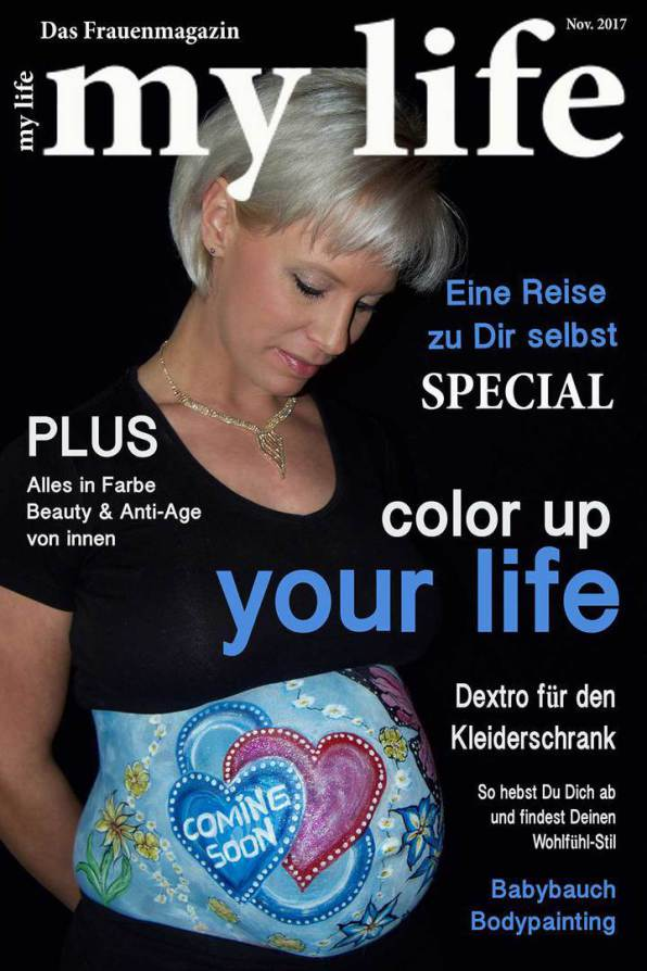 Babybauch Bodypainting, Fotoshooting