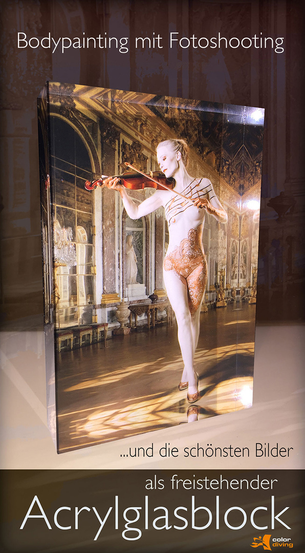 Acrylglasblock zum Bodypainting, Bodypainting mit Fotoshooting, Marlies Brinker,