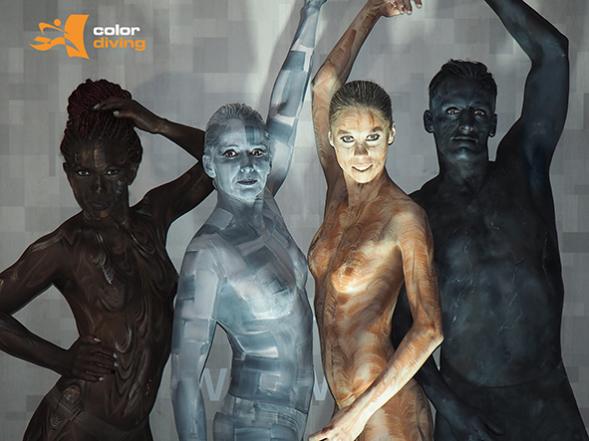 Bodypaintingmodelle für Bodypainting www-color-diving.com, für Messen , Düsseldorf, Dortmund, Essen, Köln, Painting Marlies Brinker