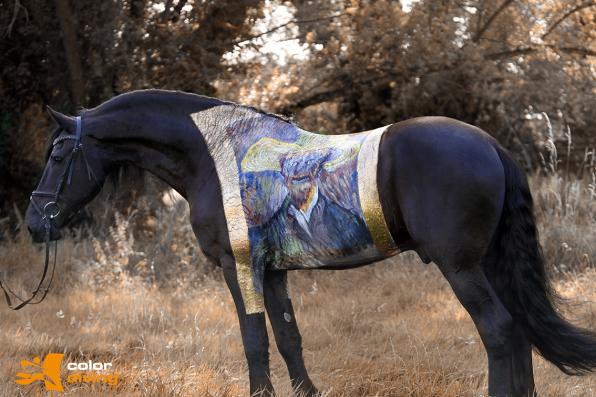 horse painting van Gogh www.color-diving.com  Bodypaintingkünstlerin Marlies Brinker, Rheine NRW Foto: www.tierfotografie-jandke.de