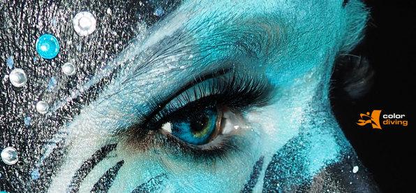 Bodypainting, color-diving, Marlies Brinker, Körperbemalung, Facepainting, Fotoshooting, Bodypainting für Messen