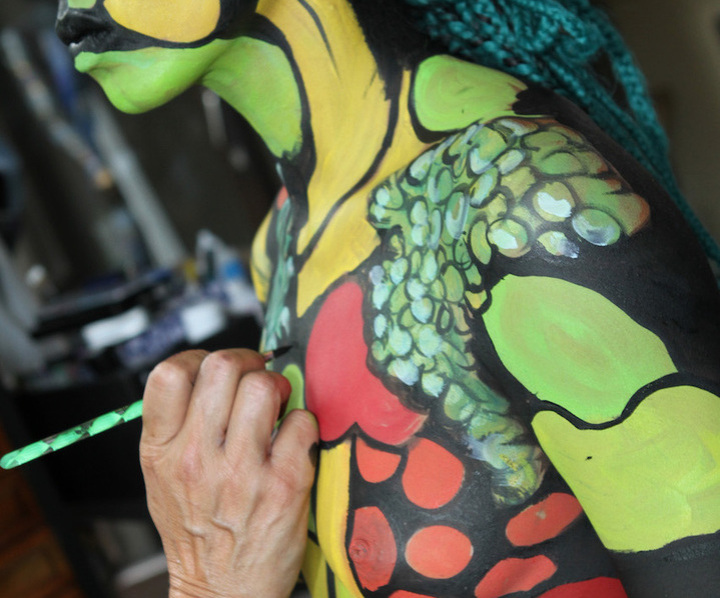 Bodypainting mit Fotoshooting, Bodypainting Messen, Marlies Brinker, www-color-diving.com, Körperbemalung, Kunst