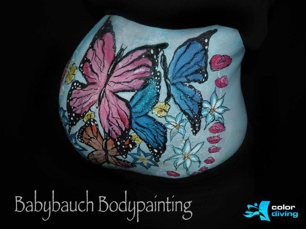 Babybauch Bodypainting, Marlies Brinker, color diving, Fotoshooting, Körperbemalung