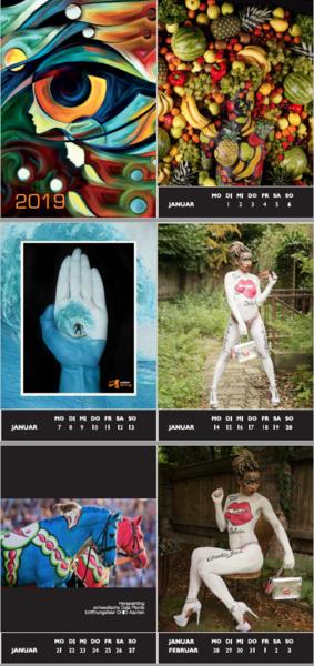 bodypainting tischkalender 2019 52 paintingmotive mit. Black Bedroom Furniture Sets. Home Design Ideas